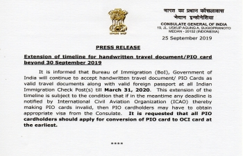 Extension of timeline for handwritten travel document/PIO card beyond 30 September 2019