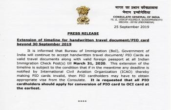 Extension of timeline for handwritten travel document/PIO card beyond 30 September 2019