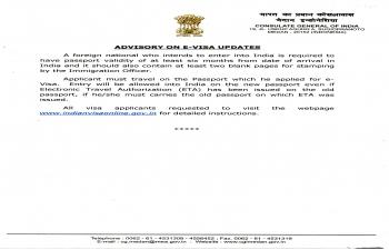 ADVISORY ON E-VISA UPDATES