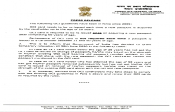 Press Release on Overseas Citizen of India (OCI) Card