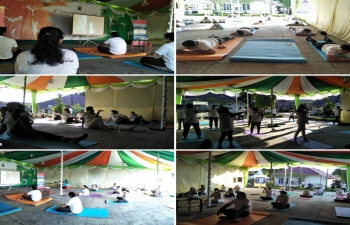 Celebration of 6th International Day of Yoga at Medan on 21 June.